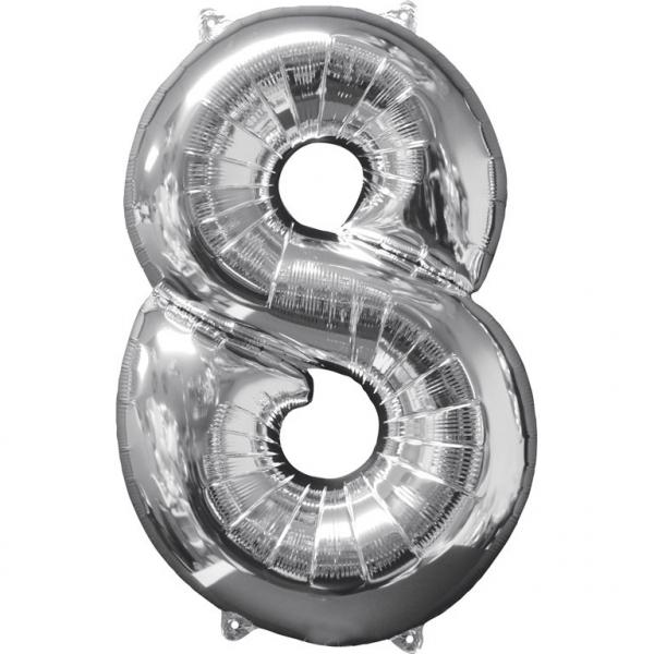 Amscan Fóliový balón narodeninové číslo 8 strieborný 66cm