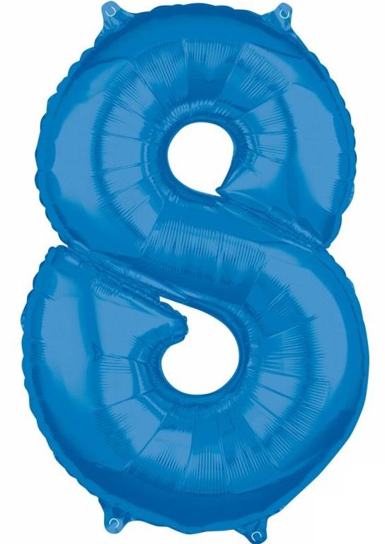 Amscan Fóliový balón narodeninové číslo 8 modrý 66cm