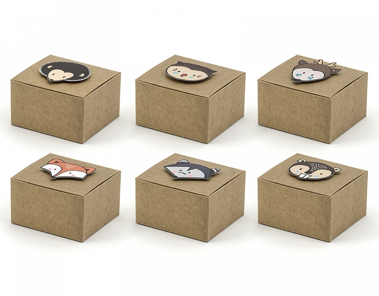 PartyDeco Darčekové krabičky Woodland 6 ks