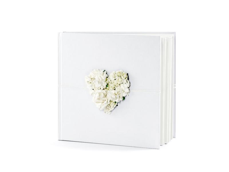 PartyDeco Kniha hostí s kvetovým srdcom
