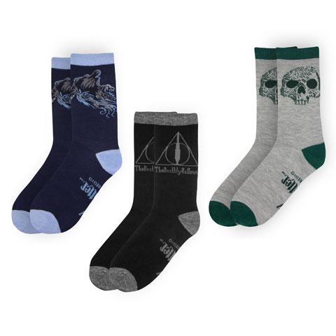Distrineo Sada 3 párov ponožiek Harry Potter - Dary smrti