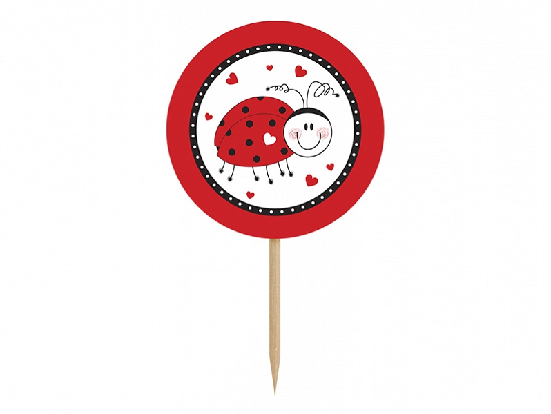 PartyDeco Ozdoby na cupcakes - Lienka 6 ks