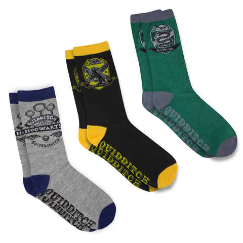 Distrineo Sada 3 párov ponožiek Harry Potter - Metlobal (Fakulty Rokfortu)