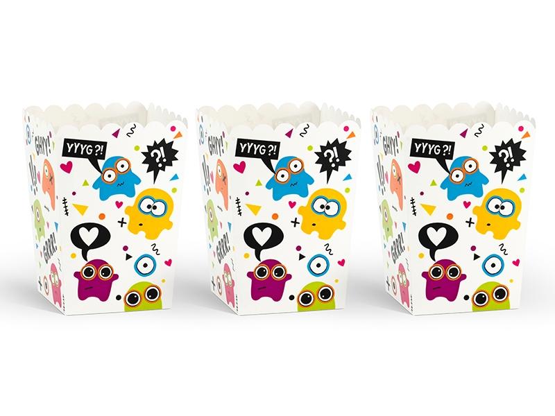 PartyDeco Dekoratívne boxy pre popcorn - Monster 6 ks