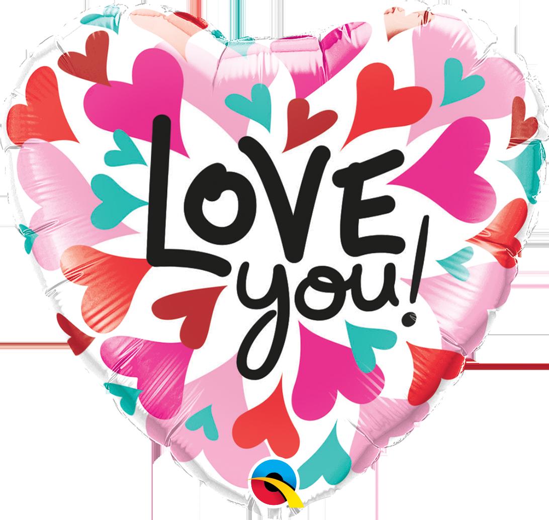 Qualatex Fóliový balón farebné srdiečka - Love you