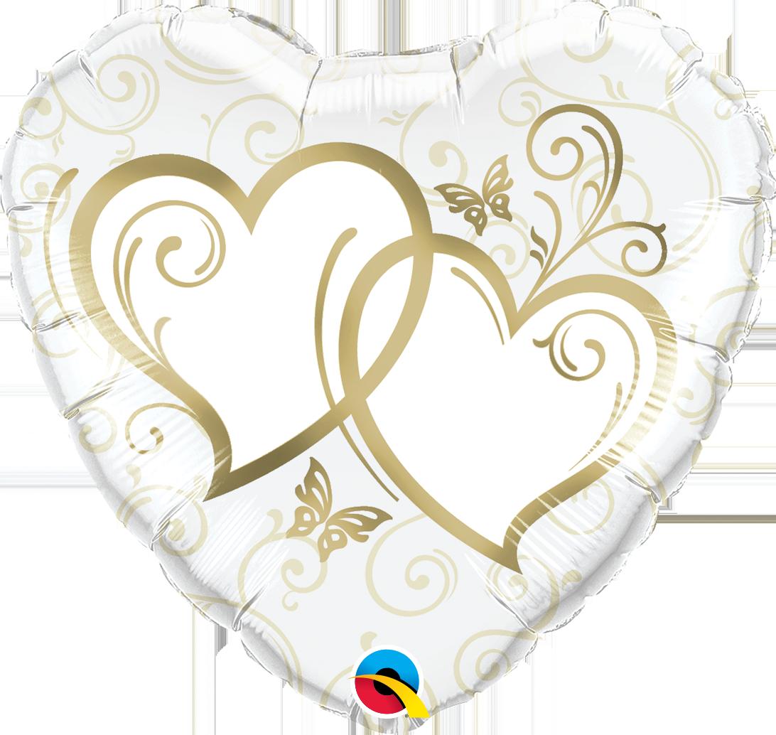 Qualatex Fóliový balón srdce - Biele so zlatými srdiečkami