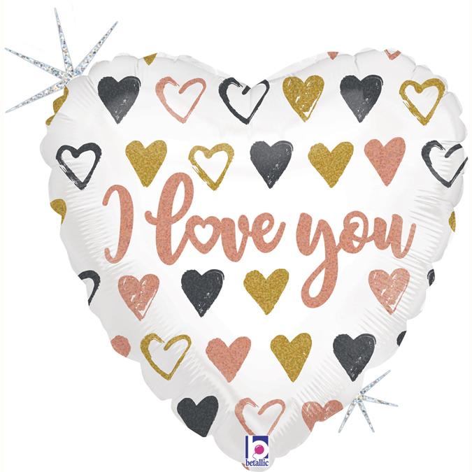 Grabo Fóliový balón - Srdce I love you ružovozlaté