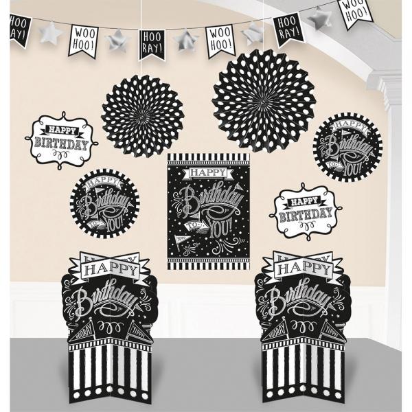 Amscan Dekoračný set čierno-biele narodeniny 10 ks