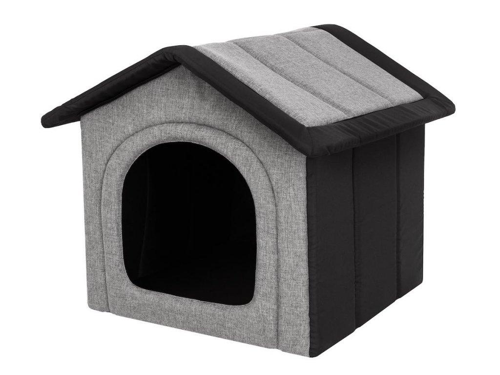 Látková bouda pro psa - světle šedá s černou