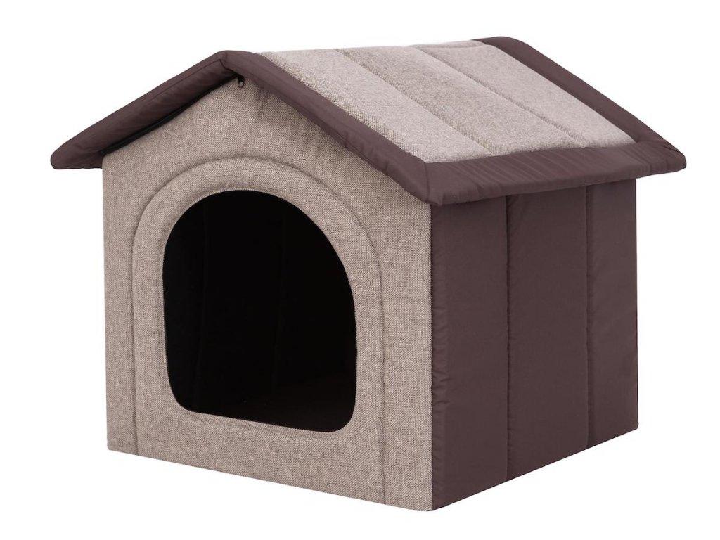 textilni bouda pro psa bezova s hnedou