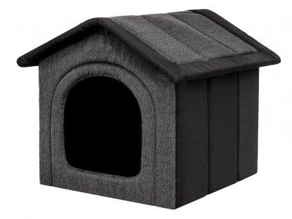 Latkova bouda pro psa tmave seda s cernou
