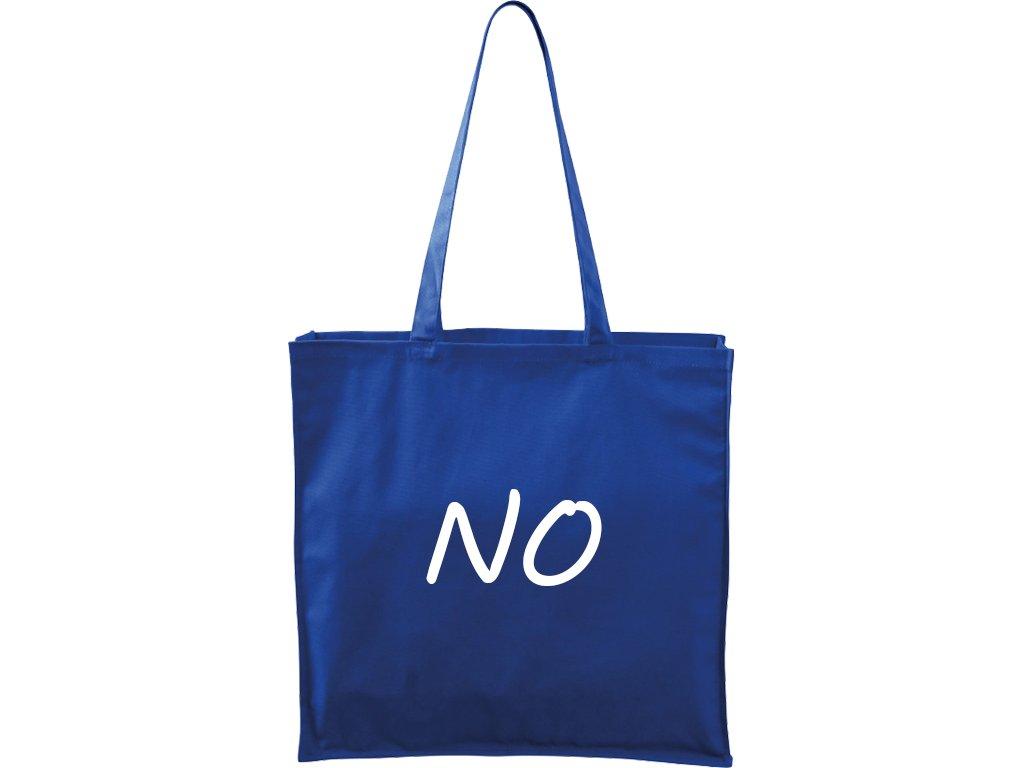 Plátěná taška Carry modrá s bílým motivem - NO