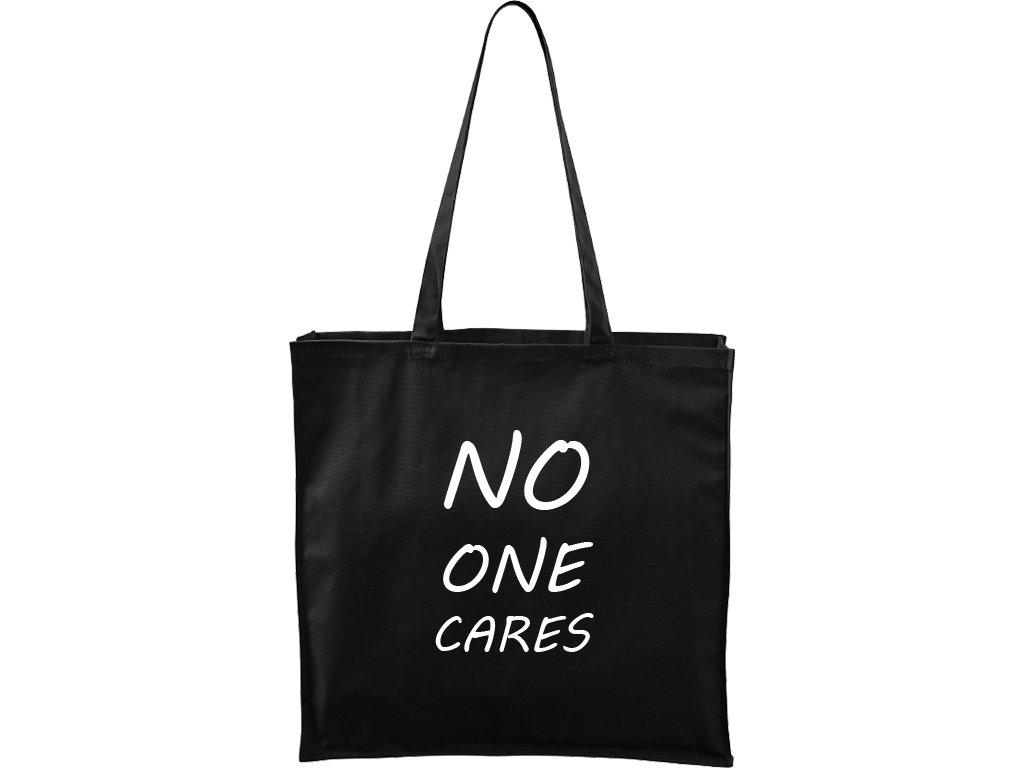 Plátěná taška Carry černá s bílým motivem - No One Cares