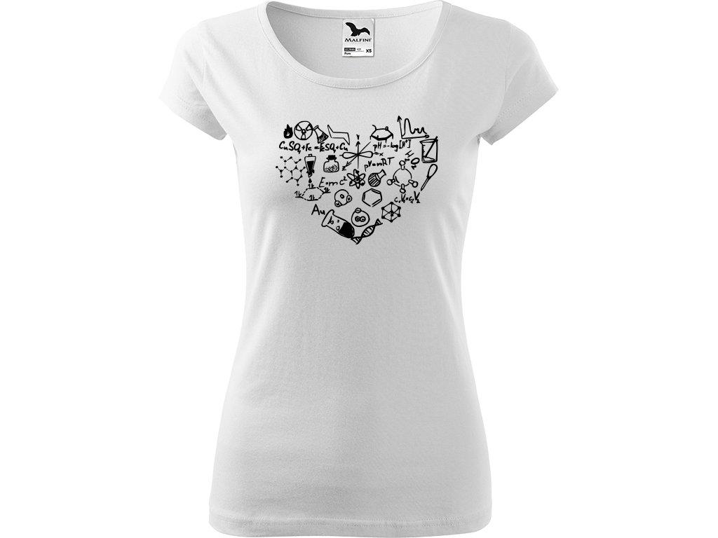 Ručně malované triko bílé s černým motivem - Chemikovo srdce