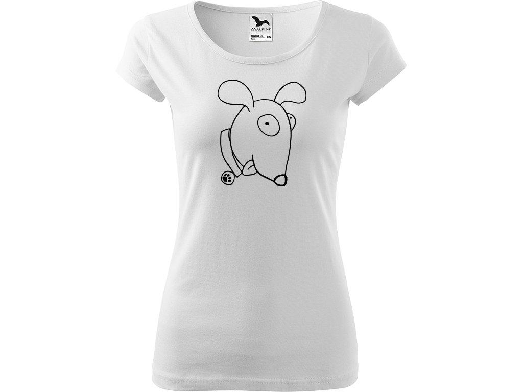 Ručně malované triko bílé s černým motivem - Crazy Pes