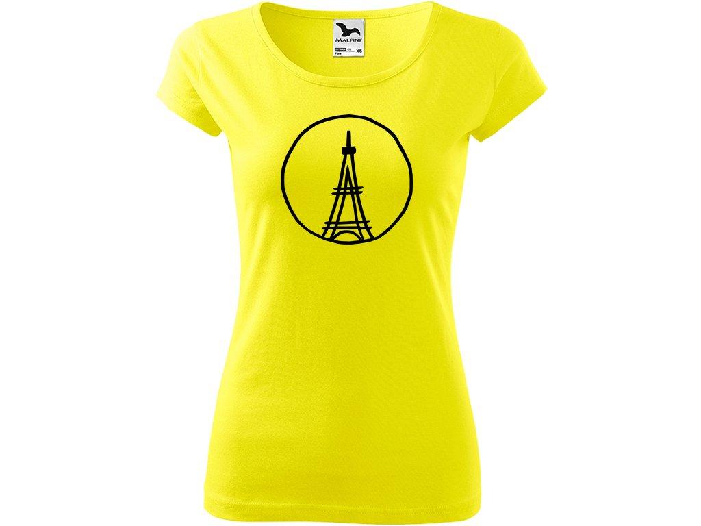 Ručně malované triko citronové s černým motivem - Eiffelovka