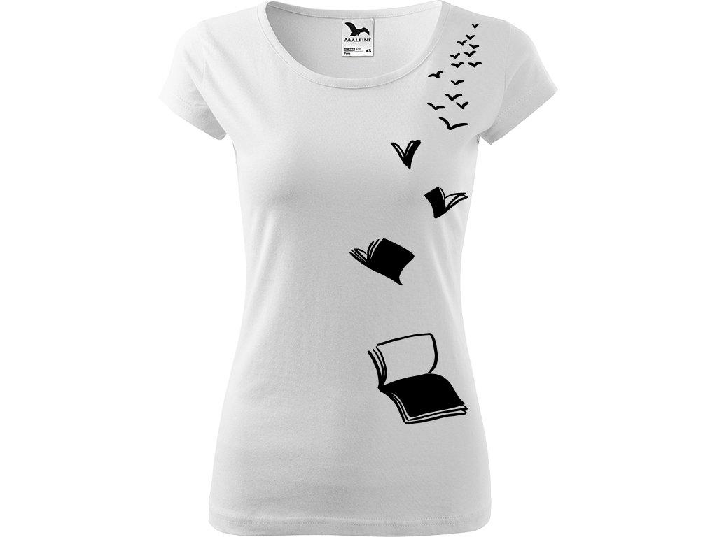 Ručně malované triko bílé s černým motivem - Létající knihy