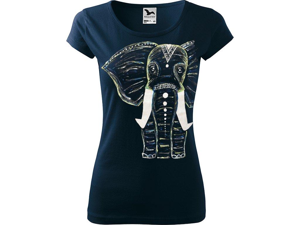 Ručně malované dámské tričko Pure - Slon - Nomořní modrá
