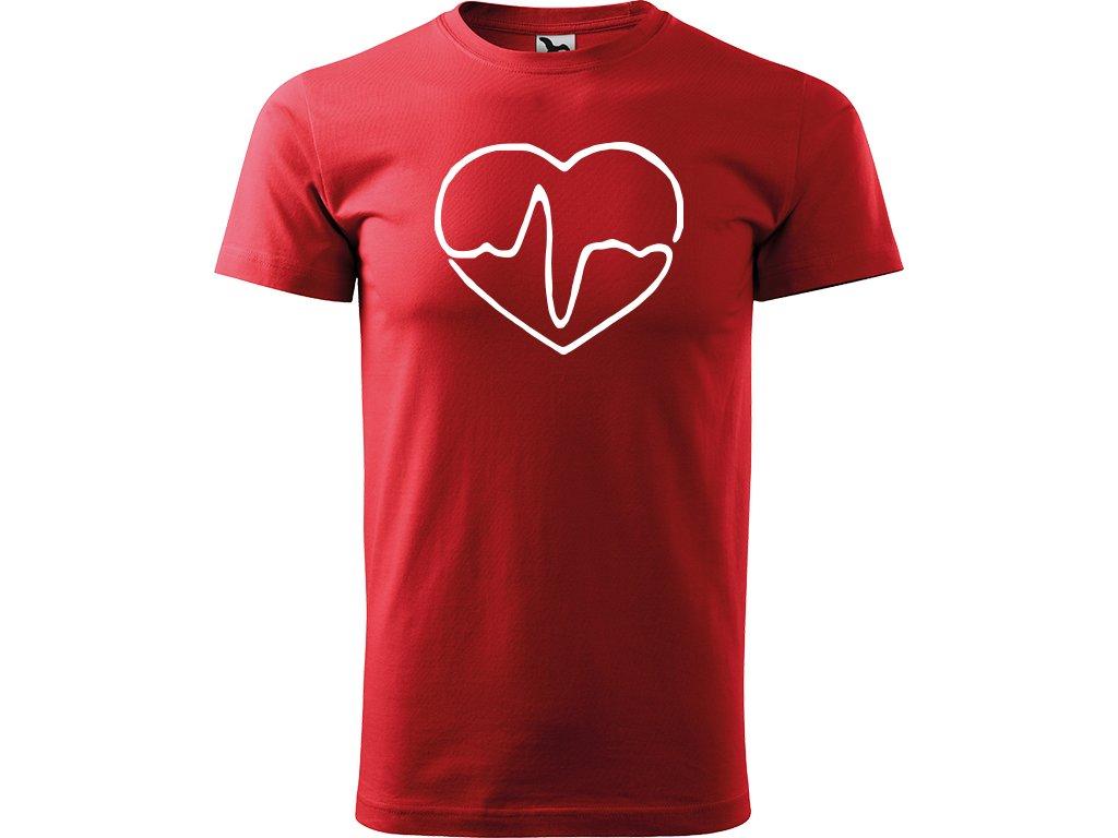 Ručně malované triko červené s bílým motivem - Doktorské srdce