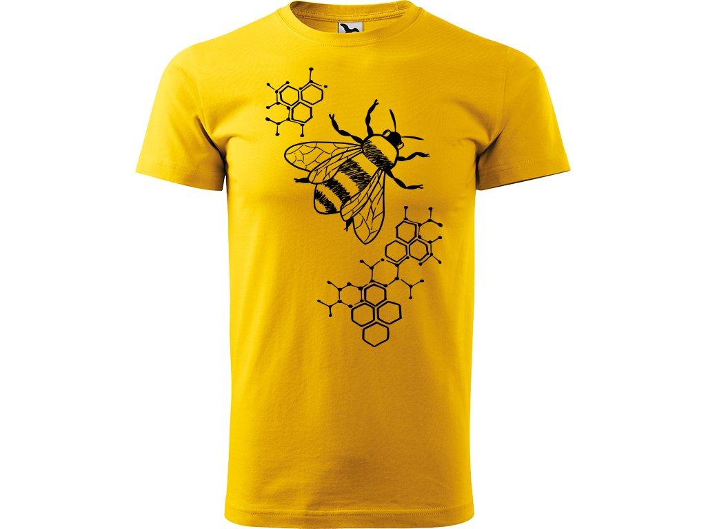 Ručně malované triko  s černým motivem - Včela s plástvemi