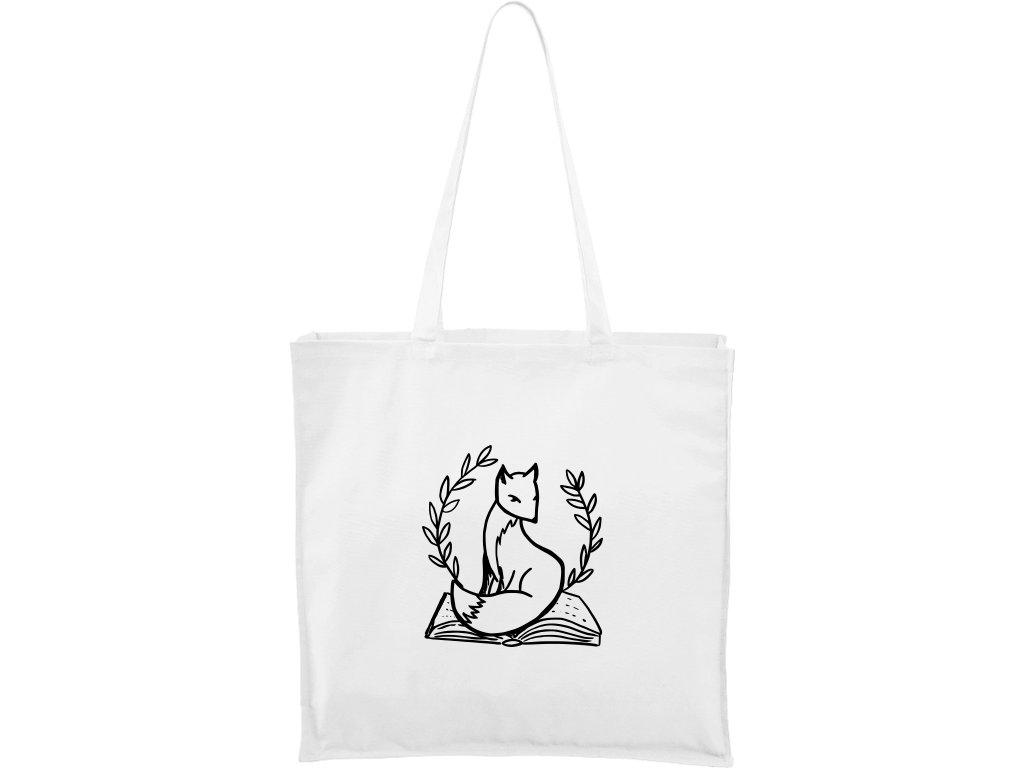 Plátěná taška Carry bílá s černým motivem - Liška na knize