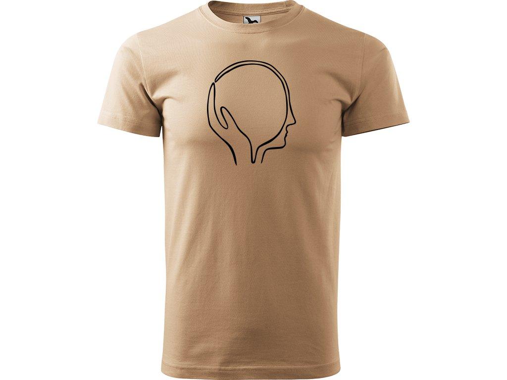 Ručně malované triko pískové s černým motivem - Dlaň a hlava