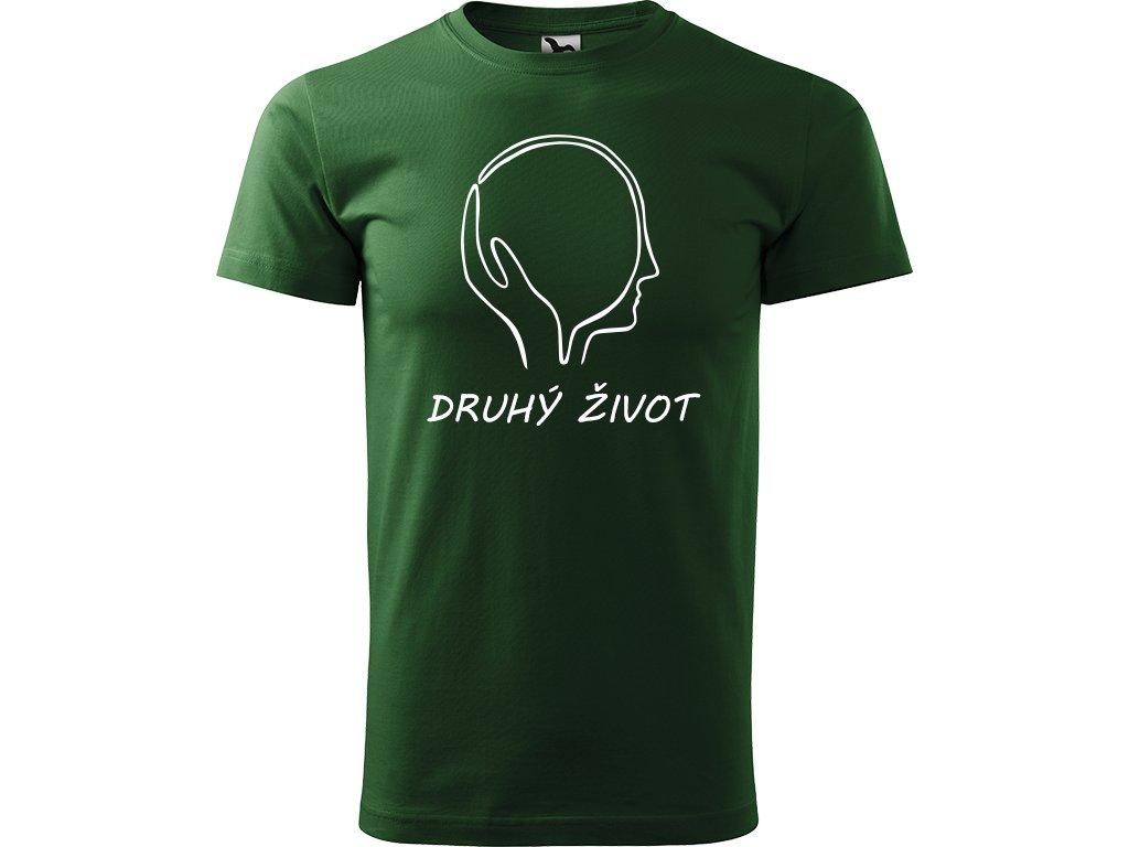 Ručně malované triko trávově zelené s bílým motivem - Druhý život