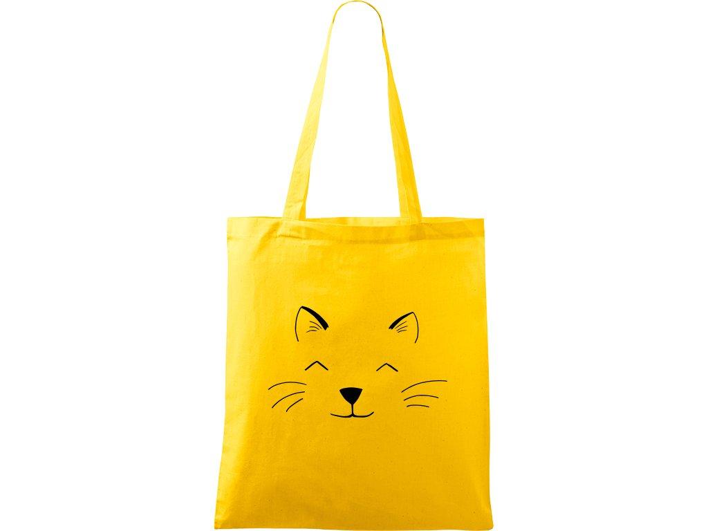 Plátěná taška Handy žlutá s černým motivem - Cat Face