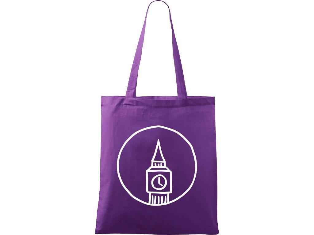 Plátěná taška Handy fialová s bílým motivem - Big Ben