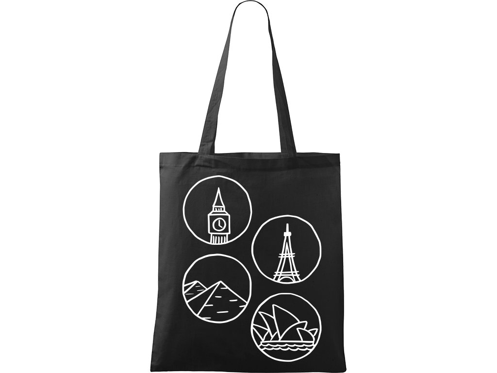 Plátěná taška Handy černá s bílým motivem - Big Ben, Eiffelovka, Pyramidy a opera v Sydney -