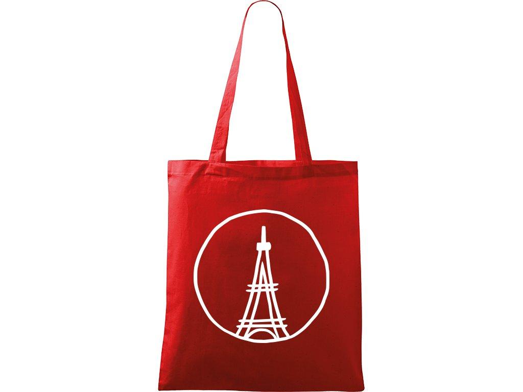Plátěná taška Handy červená s bílým motivem - Eiffelovka