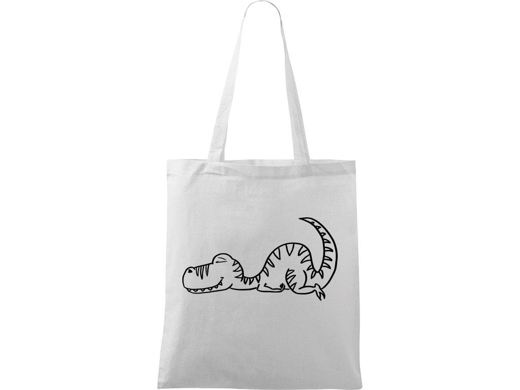 Plátěná taška Handy bílá s černým motivem - Dinosaur spící