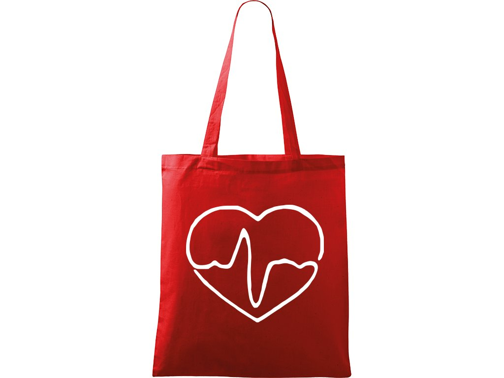 Plátěná taška Handy červená s bílým motivem - Doktorské srdce