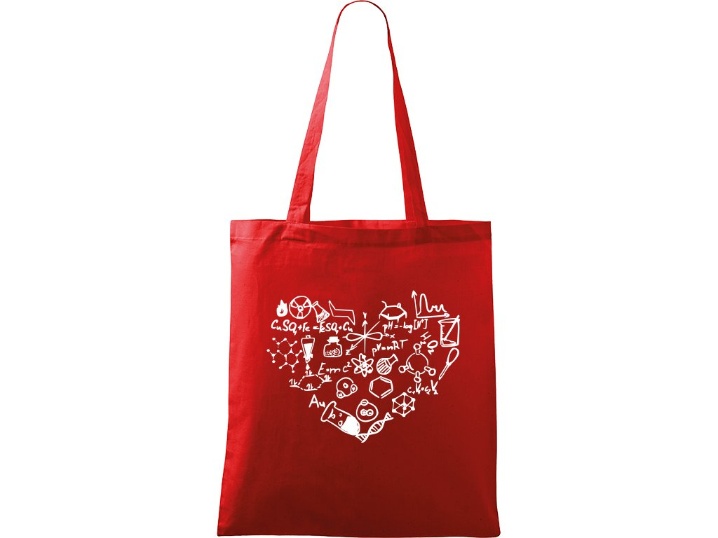 Plátěná taška Handy červená s bílým motivem - Chemikovo srdce