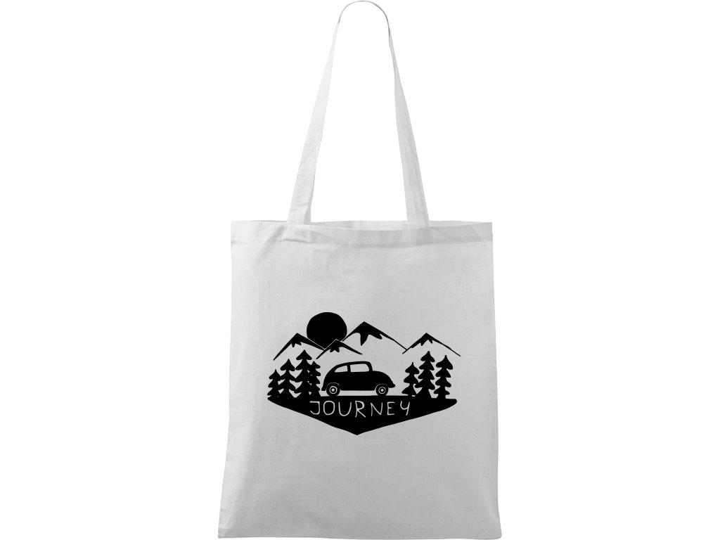 Plátěná taška Handy bílá s černým motivem - Journey