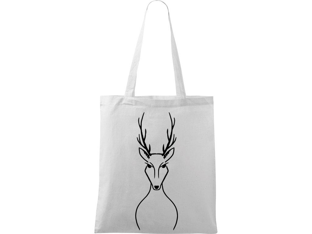 Plátěná taška Handy bílá s černým motivem - Jelen