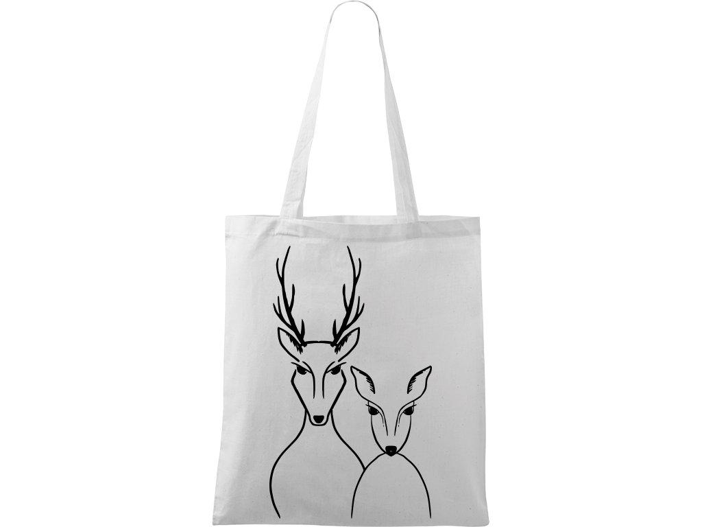 Plátěná taška Handy bílá s černým motivem - Srnka & Jelen