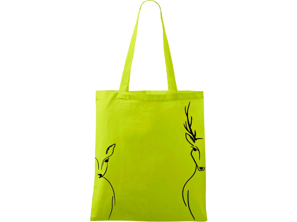 Plátěná taška Handy limetková s černým motivem - Srnka & Jelen po bocích