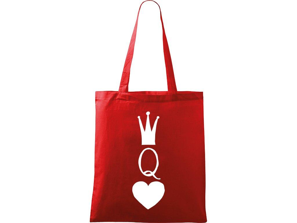 Plátěná taška Handy červená s bílým motivem - Queen