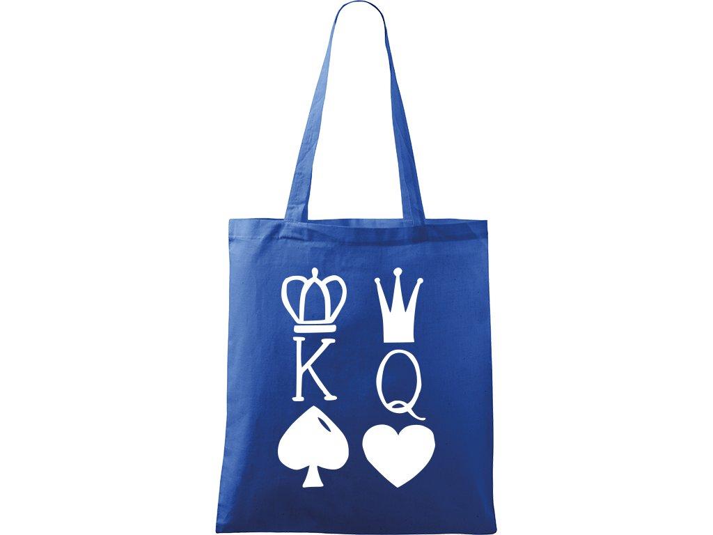 Plátěná taška Handy modrá s bílým motivem - King & Queen