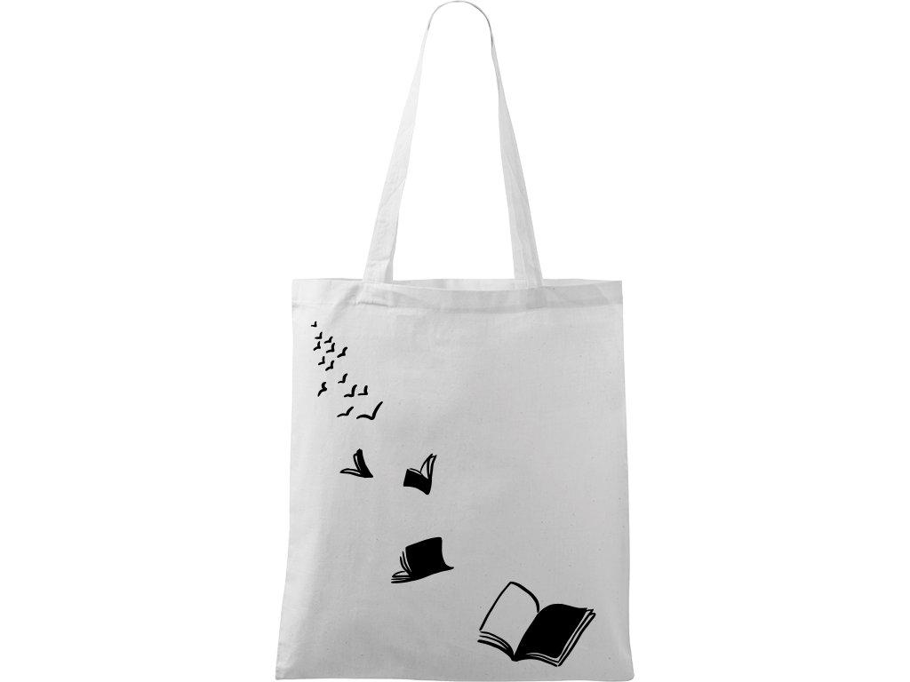 Plátěná taška Handy bílá s černým motivem - Knihy létající - 2