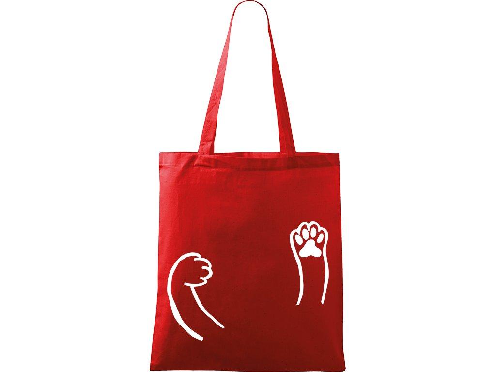 Plátěná taška Handy červená s bílým motivem - Kočičí packy