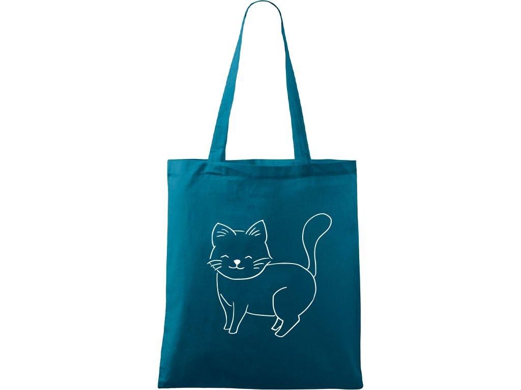 Plátěná taška Handy petrolejová s bílým motivem - Kočka