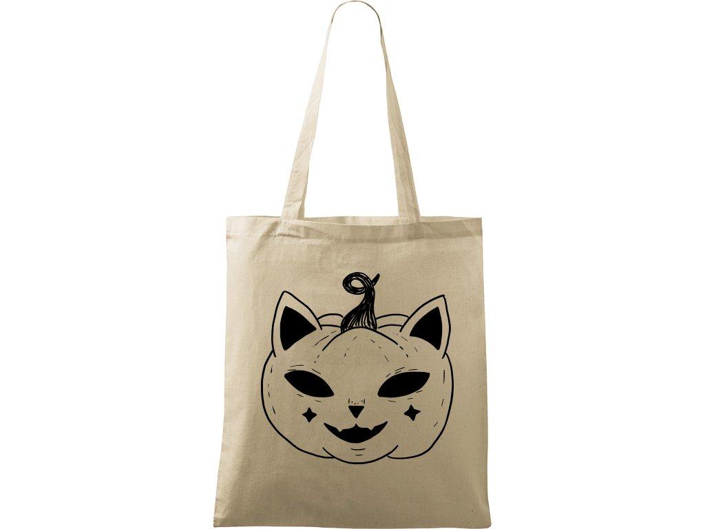 Plátěná taška Handy přírodní s černým motivem - Halloween kočka