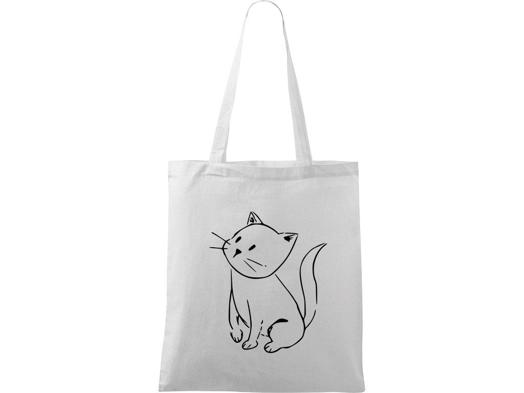 Plátěná taška Handy bílá s černým motivem - Kotě