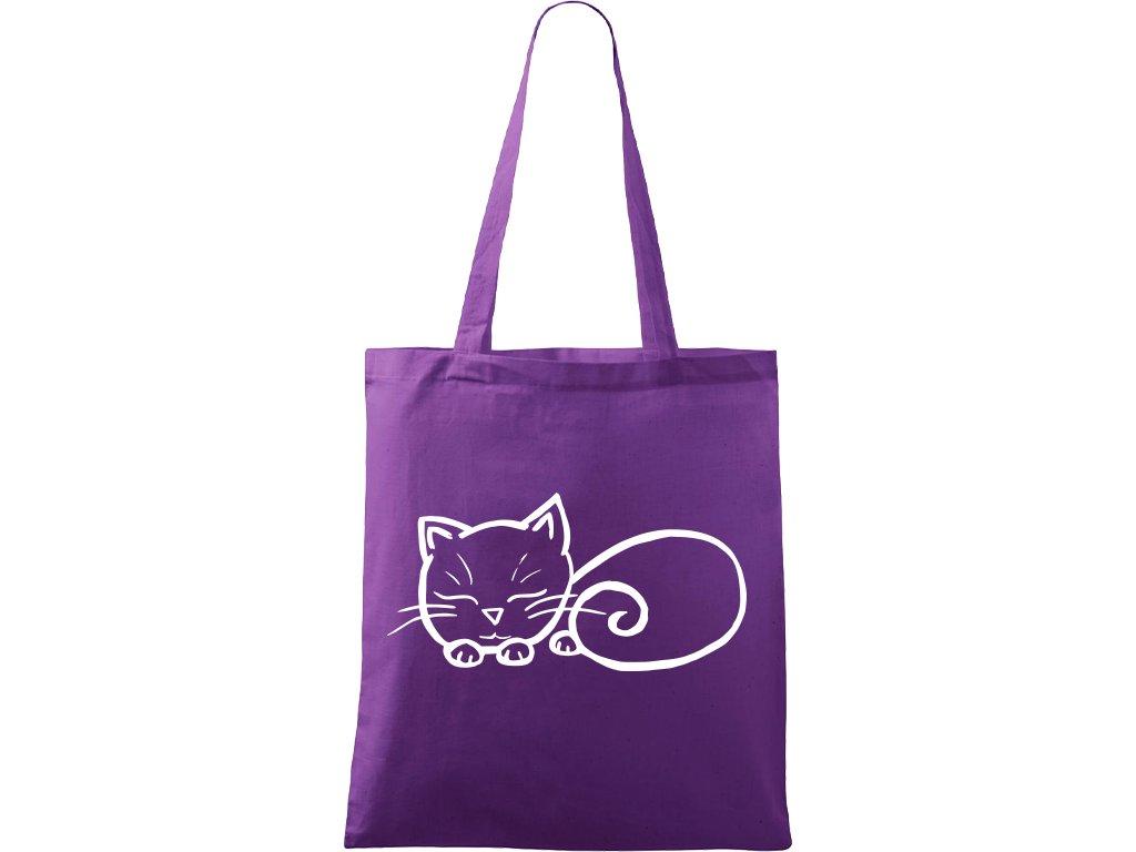 Plátěná taška Handy fialová s bílým motivem - Spící kotě