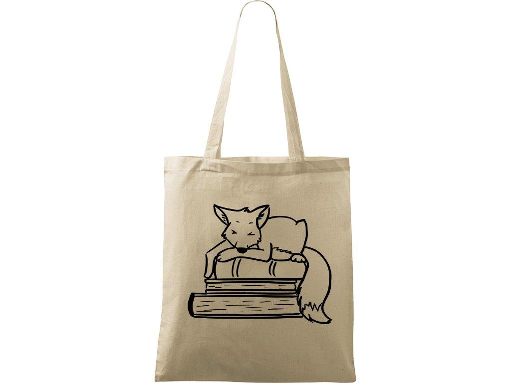 Plátěná taška Handy přírodní s černým motivem - Liška na knihách