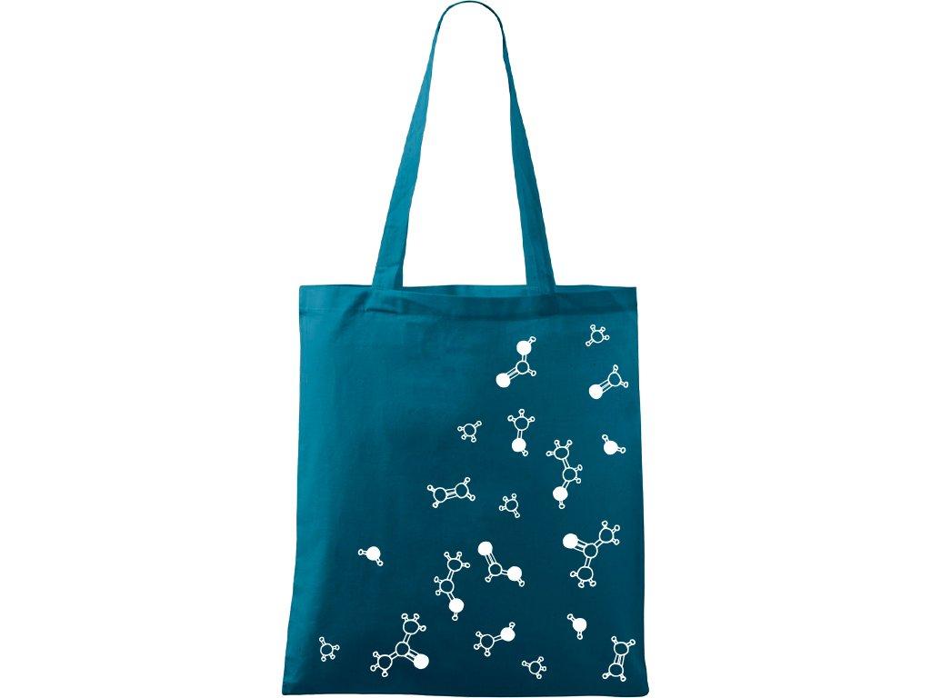 Plátěná taška Handy petrolejová s bílým motivem - Molekuly