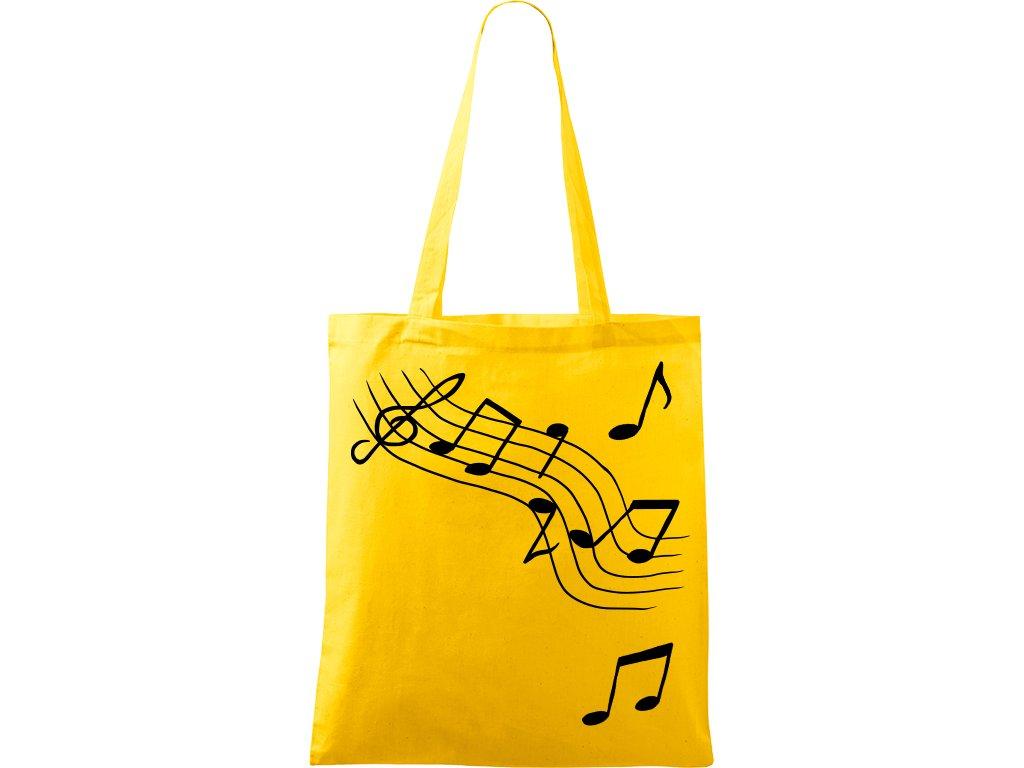 Plátěná taška Handy žlutá s černým motivem - Noty