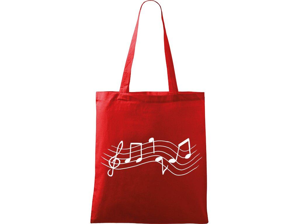 Plátěná taška Handy červená s bílým motivem - Noty rovně